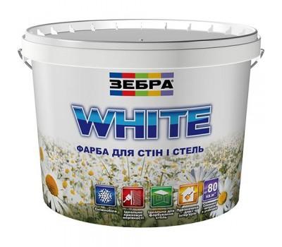 Краска Зебра интерьерная акриловая для стен и потолков белый 10 л