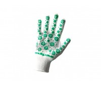 Рукавички робочі Doloni білі з зеленим малюнком ПВХ 10 клас