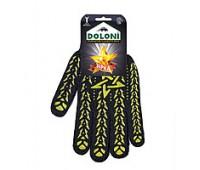 Рукавички робочі Doloni чорні з жовтою зіркою ПВХ