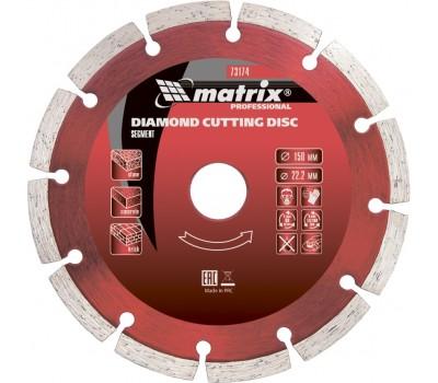 Диск алмазный отрезной сегментированный Matrix Professional сухая резка 115 x 22.2 мм