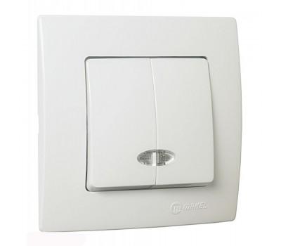 Выключатель с подсветкой Makel на 2 клавиши (белый)