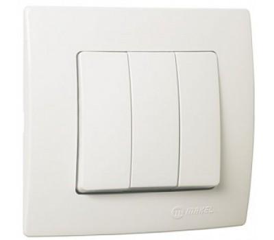 Выключатель Makel на 3 клавиши (1 вх. 3 вых) (белый)