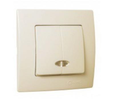 Выключатель с подсветкой Makel на 2 клавиши (кремовый)