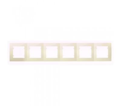 Рамка Makel на 6 сегмента (кремовая)