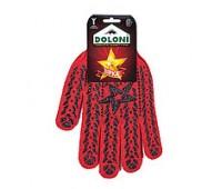 Рукавички робочі Doloni Зірка червоні з чорним ПВХ малюнком