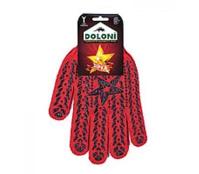 Перчатки рабочие Doloni Звезда красные с черным ПВХ рисунком