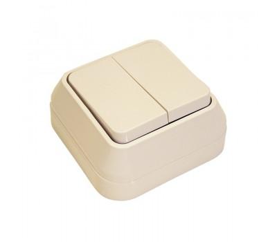 Выключатель Makel на 2 клавиши IP20 (кремовый)