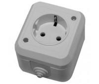 Розетка Makel на 1 разъем IP44 с заземлением (серая)
