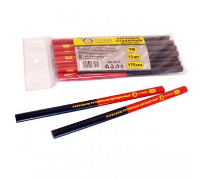Карандаш строительный Сталь двухцветный 175 мм 12 шт (23101)